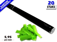 Bestel de goedkoopste 80cm confetti shooters met lichtgroene brandvrije papieren confetti bij Partyvuurwerk. Eenvoudig online bestellen en snel geleverd!