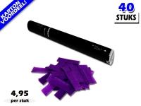Laagste prijs! Bestel 40cm confetti shooters met paarse brandvrije papieren confetti zeer voordelig online bij Partyvuurwerk.