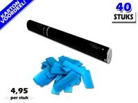 Laagste prijs! Bestel 40cm confetti shooters met lichtblauwe brandvrije papieren confetti zeer voordelig online bij Partyvuurwerk.