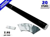 Laagste prijs! Bestel 80cm confetti shooters met zilver metallic brandvrije confetti zeer voordelig online bij Partyvuurwerk.