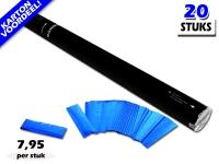 Laagste prijs! Bestel 80cm confetti shooters met blauwe metallic brandvrije confetti zeer voordelig online bij Partyvuurwerk.