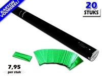 Laagste prijs! Bestel 80cm confetti shooters met groene metallic brandvrije confetti zeer voordelig online bij Partyvuurwerk.