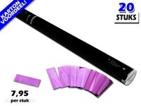 Laagste prijs! Bestel 80cm confetti shooters met roze metallic brandvrije confetti zeer voordelig online bij Partyvuurwerk.