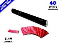 Laagste prijs! Bestel 40cm confetti shooters met rood metallic brandvrije confetti zeer voordelig online bij Partyvuurwerk.