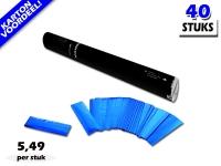 Laagste prijs! Bestel 40cm confetti shooters met blauwe metallic brandvrije confetti zeer voordelig online bij Partyvuurwerk.