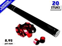 Laagste prijs! Bestel 80cm streamer shooters met rood metallic brandvrije streamers zeer voordelig online bij Partyvuurwerk.