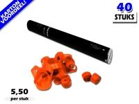Laagste prijs! Bestel 40cm streamer shooters met oranje brandvrije streamers zeer voordelig online bij Partyvuurwerk.