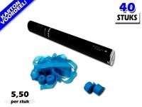 Laagste prijs! Bestel 40cm streamer shooters met lichtblauwe brandvrije streamers zeer voordelig online bij Partyvuurwerk.