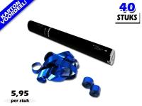 Laagste prijs! Bestel 40cm streamer shooters met blauw metallic brandvrije streamers zeer voordelig online bij Partyvuurwerk.