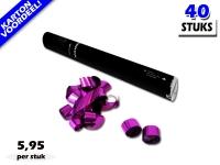 Laagste prijs! Bestel 40cm streamer shooters met roze metallic brandvrije streamers zeer voordelig online bij Partyvuurwerk.
