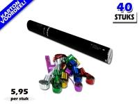 Laagste prijs! Bestel 40cm streamer shooters met multicolour metallic brandvrije streamers zeer voordelig online bij Partyvuurwerk.