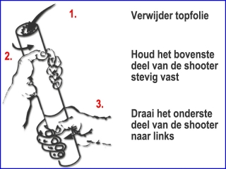 Instructie voor een veilig gebruik van donkergroene handheld streamer shooters