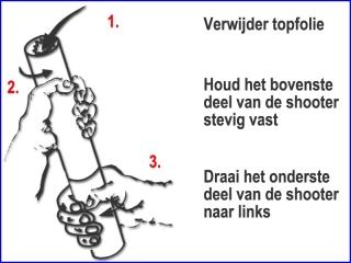 Instructie voor een veilig gebruik van witte en metallic zilveren handheld streamer shooters