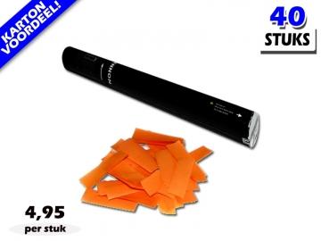 Laagste prijs! Bestel 40cm confetti shooters met oranje brandvrije papieren confetti zeer voordelig online bij Partyvuurwerk.