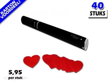 Laagste prijs! Bestel 40cm confetti shooters met rode hartjes brandvrije papieren confetti zeer voordelig online bij Partyvuurwerk.