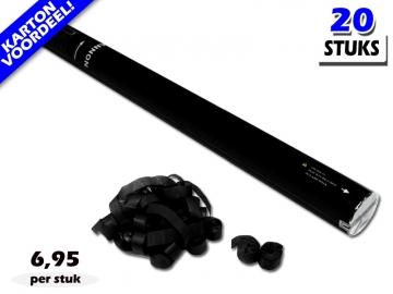 Laagste prijs! Bestel 80cm streamer shooters met zwarte brandvrije streamers zeer voordelig online bij Partyvuurwerk.