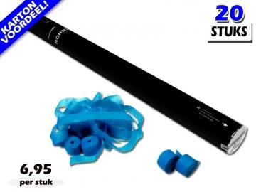 Laagste prijs! Bestel 80cm streamer shooters met lichtblauwe brandvrije streamers zeer voordelig online bij Partyvuurwerk.