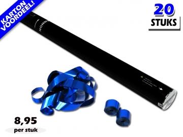 Laagste prijs! Bestel 80cm streamer shooters met blauw metallic brandvrije streamers zeer voordelig online bij Partyvuurwerk.