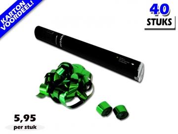 Laagste prijs! Bestel 40cm streamer shooters met groen metallic brandvrije streamers zeer voordelig online bij Partyvuurwerk.