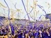 Prachtige sfeer creëren met paarse werplinten. Eenvoudig online te bestellen bij Partyvuurwerk.nl