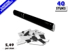 Laagste prijs! Bestel 40cm confetti shooters met witte en zilveren metallic brandvrije confetti zeer voordelig online bij Partyvuurwerk.