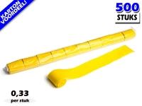 Gele werplinten voor het creëren van tifo en sfeer bij voetbalwedstrijden en evenementen. Kartonvoordeel per 500 stuks op Partyvuurwerk