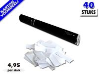 Laagste prijs! Bestel 40cm confetti shooters met witte brandvrije papieren confetti zeer voordelig online bij Partyvuurwerk.
