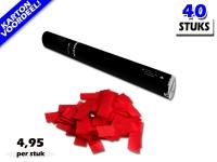 Laagste prijs! Bestel 40cm confetti shooters met rode brandvrije papieren confetti zeer voordelig online bij Partyvuurwerk.