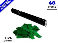 Laagste prijs! Bestel 40cm confetti shooters met donkergroene brandvrije papieren confetti zeer voordelig online bij Partyvuurwerk.