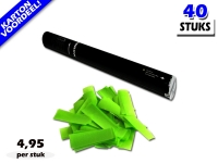 Laagste prijs! Bestel 40cm confetti shooters met lichtgroene brandvrije papieren confetti zeer voordelig online bij Partyvuurwerk.