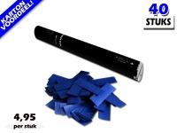 Laagste prijs! Bestel 40cm confetti shooters met donkerblauwe brandvrije papieren confetti zeer voordelig online bij Partyvuurwerk.