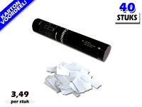 Laagste prijs! Bestel 28cm confetti shooters met witte brandvrije papieren confetti zeer voordelig online bij Partyvuurwerk.