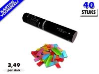 Laagste prijs! Bestel 28cm confetti shooters met multicolour brandvrije papieren confetti zeer voordelig online bij Partyvuurwerk.