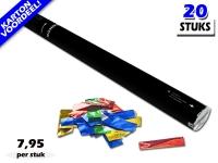 Laagste prijs! Bestel 80cm confetti shooters met multicolour metallic brandvrije confetti zeer voordelig online bij Partyvuurwerk.