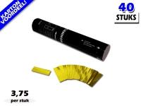 Laagste prijs! Bestel 28cm confetti shooters met goud metallic brandvrije confetti zeer voordelig online bij Partyvuurwerk.