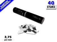 Laagste prijs! Bestel 28cm confetti shooters met witte en zilver metallic brandvrije confetti zeer voordelig online bij Partyvuurwerk.