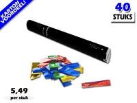 Laagste prijs! Bestel 40cm confetti shooters met multicolour metallic brandvrije confetti zeer voordelig online bij Partyvuurwerk.