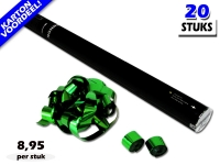 Laagste prijs! Bestel 80cm streamer shooters met groen metallic brandvrije streamers zeer voordelig online bij Partyvuurwerk.