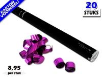Laagste prijs! Bestel 80cm streamer shooters met roze metallic brandvrije streamers zeer voordelig online bij Partyvuurwerk.