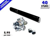Laagste prijs! Bestel 40cm streamer shooters met zilver metallic brandvrije streamers zeer voordelig online bij Partyvuurwerk.
