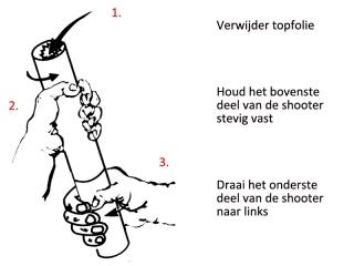 Lees voor gebruik van de confetti shooters van Partyvuurwerk de gebruiksaanwijzing voor een correct en veilig gebruik