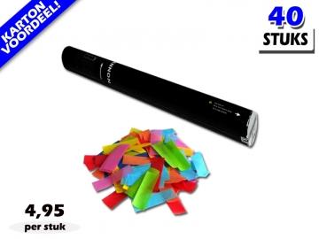 Laagste prijs! Bestel 40cm confetti shooters met multicolour brandvrije papieren confetti zeer voordelig online bij Partyvuurwerk.