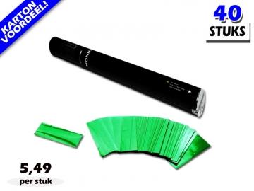 Laagste prijs! Bestel 40cm confetti shooters met groene metallic brandvrije confetti zeer voordelig online bij Partyvuurwerk.