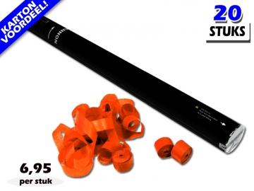 Laagste prijs! Bestel 80cm streamer shooters met oranje brandvrije streamers zeer voordelig online bij Partyvuurwerk.