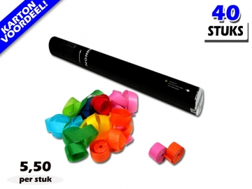 Laagste prijs! Bestel 40cm streamer shooters met multicolour brandvrije streamers zeer voordelig online bij Partyvuurwerk.